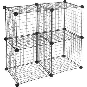 CASIER POUR MEUBLE Lot de 4 cubes de rangement en fil métallique - No