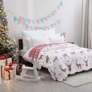 JETÉE DE LIT - BOUTIS Couvre lit 240x260cm avec Motif de Renne pour Noël