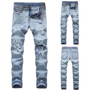 JEANS Denim Automne Casual Hommes Coton Pantalons trou d