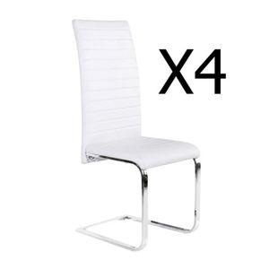CHAISE Lot de 4 chaises blanches en PU chromé - Dim : 43,