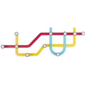 PORTE-MANTEAU Porte-manteaux subway color en métal 57,8x20,3cm.