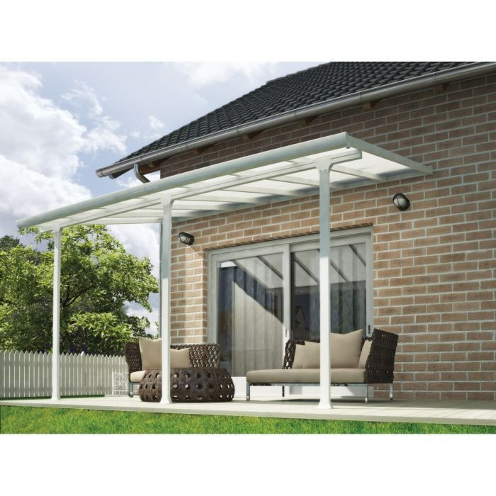 chalet jardin pergola adoss e en aluminium aurore 4x4 m blanc achat vente pergola pergola. Black Bedroom Furniture Sets. Home Design Ideas