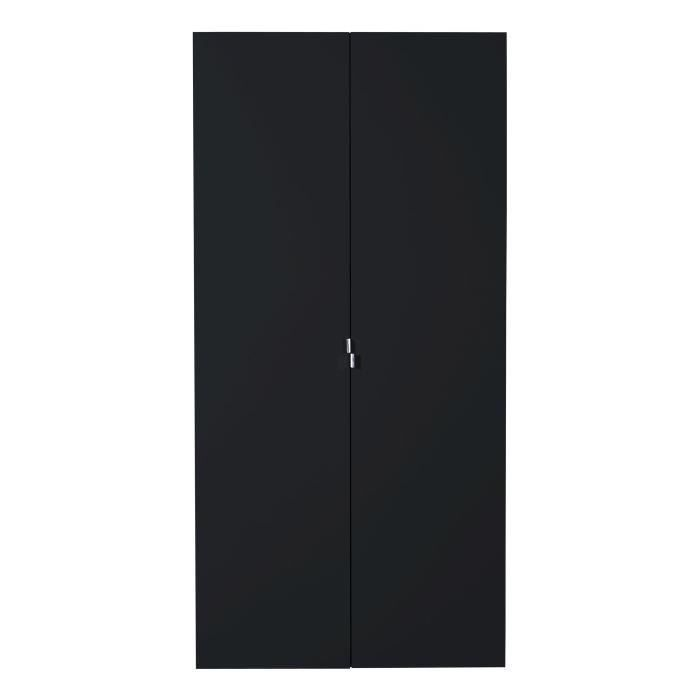 first armoire 2 portes laqu e noire achat vente. Black Bedroom Furniture Sets. Home Design Ideas
