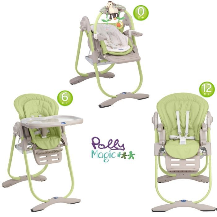 Chicco chaise haute 3 en 1 polly magic wasabi wasabi for Chaise haute 3 en 1