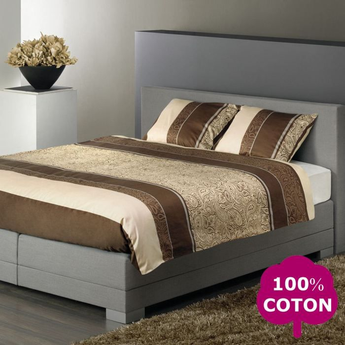 descanso parure de couette 200x200cm marron achat vente parure de couette cdiscount. Black Bedroom Furniture Sets. Home Design Ideas