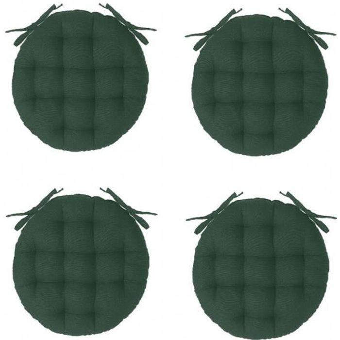 Galettes de chaise - Galette de chaise ronde - Lot de 4 - D 40 cm - Vert 38 cm