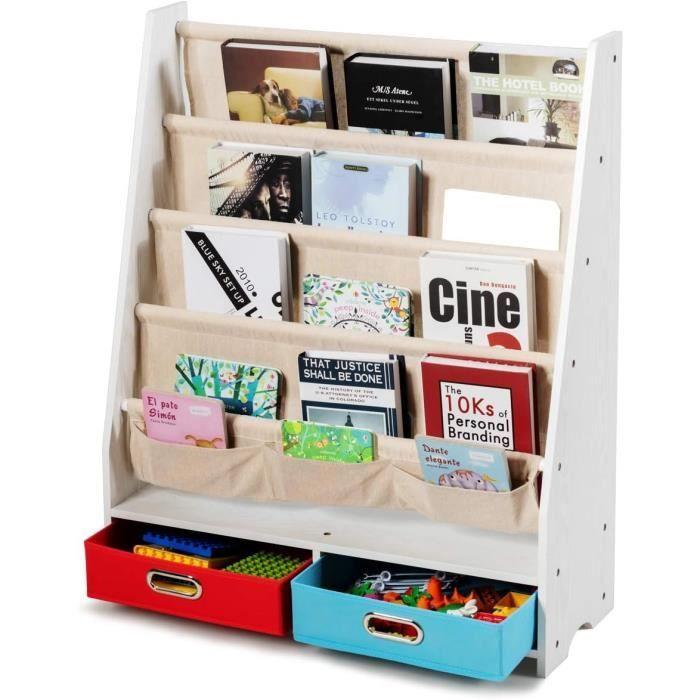COSTWAY Bibliothèque pour Enfant Étagère de Rangement pour Livres avec 4 Etagères à Bandoulière et 2 Boîtes pour Jouets