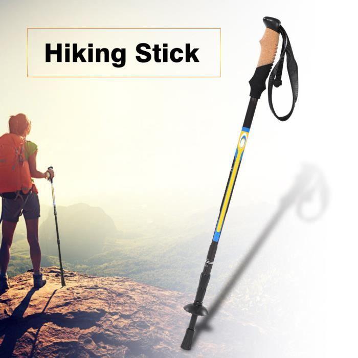 Sports de plein air fibre de carbone anti-choc marche trekking bâton de randonnée pôle (noir)-FAS