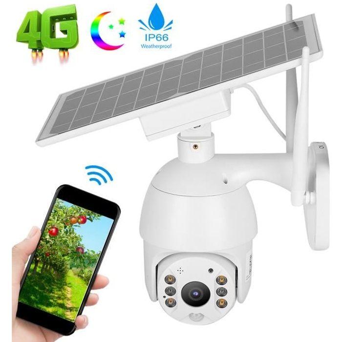 AIZ Caméra PTZ IP66 Énergie Solaire Intelligente Système de Surveillance PIR Alerte 4G Vision Nocturne(Bande de Fréquences