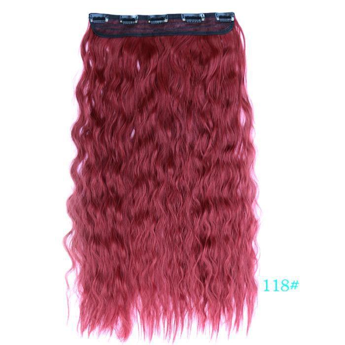 Bourgogne # 118 60 cm 24 pouces 110g Clip dans les extensions de cheveux 5 clips longue vague profonde résistant à la chaleur
