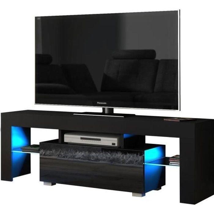 Meuble TV Banc TV Meuble de Salon Noir 130 cm