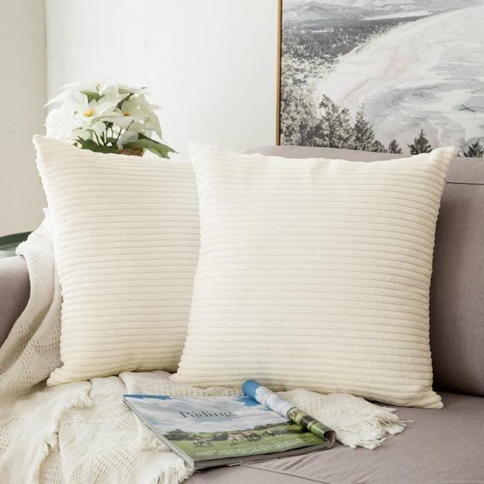 2PCS  Decorative Housse de Coussin en Velours Côtelé Canapé Taie d'oreiller Douce pour Maison Salon Chambre  45x45cm Beige