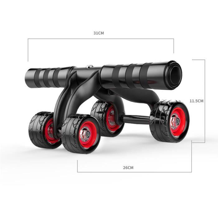 4 Roues abdominale exercice Pousser Roue Fitness Équipement d'entraînement dxc676