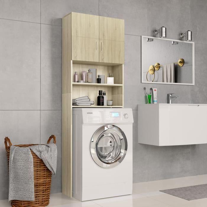 Meuble de machine à laver Armoire de Salle de Bain pour Lave-Linge Chêne Sonoma 64x25,5x190 cm Aggloméré