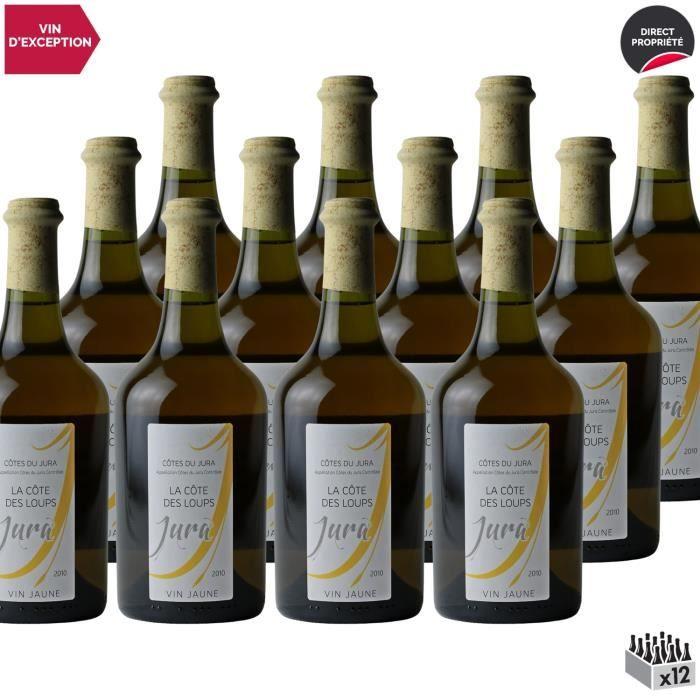 Côtes du Jura Vin Jaune Blanc 2010 - Lot de 12x62cl - La Côte des Loups - Vin AOC Blanc du Jura - Cépage Savagnin