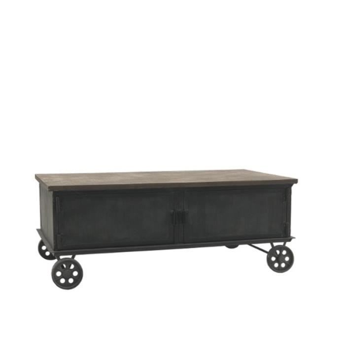 Table Basse en Bois et Métal sur Roulettes Fonte 100 cm x 60 cm 14010-Table-Basse