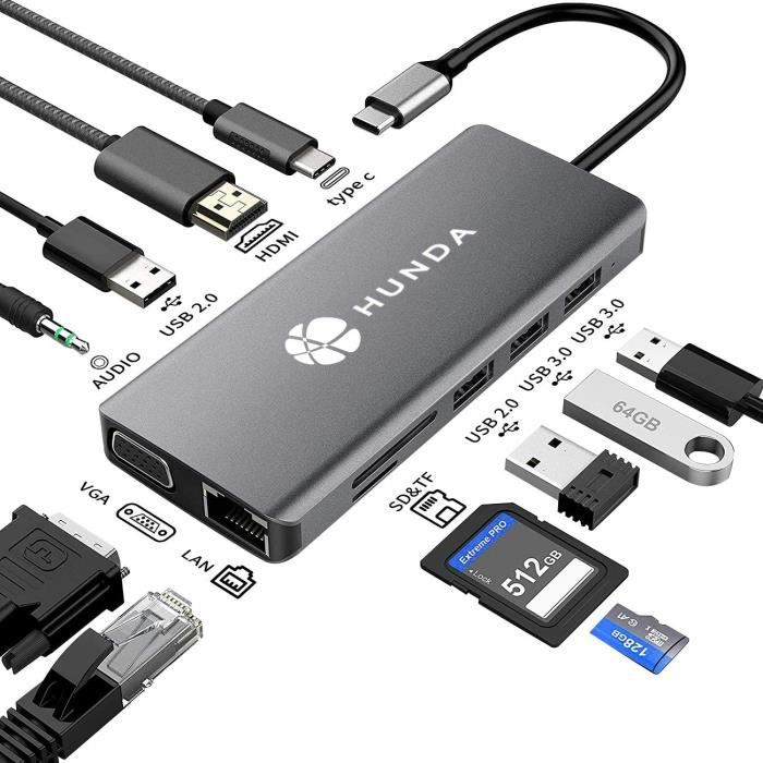 USB C Hub,11 en 1 USB C Hub MacBook Pro Adaptateur avec 4K HDMI, 1080P VGA, RJ45 Gigabit Ethernet, Lecteur de Carte SD-TF, 3.5mm