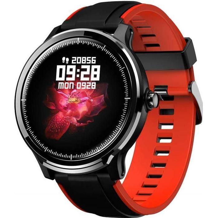 Montre Connectée Homme Tactile Montre Sport Fitness Tracker Etanche IP68 Sportifs Montre Intelligente pour Android iOS (Noir Rouge)