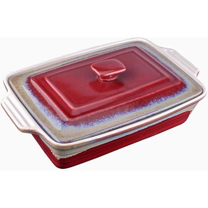 LOVECASA Plat rectangulaire Peu Profond en grès avec couvercles, Four à Table, Lasagne/Tarte/cocotte/Tapas/Plat de Cuisson (38,5 x 2