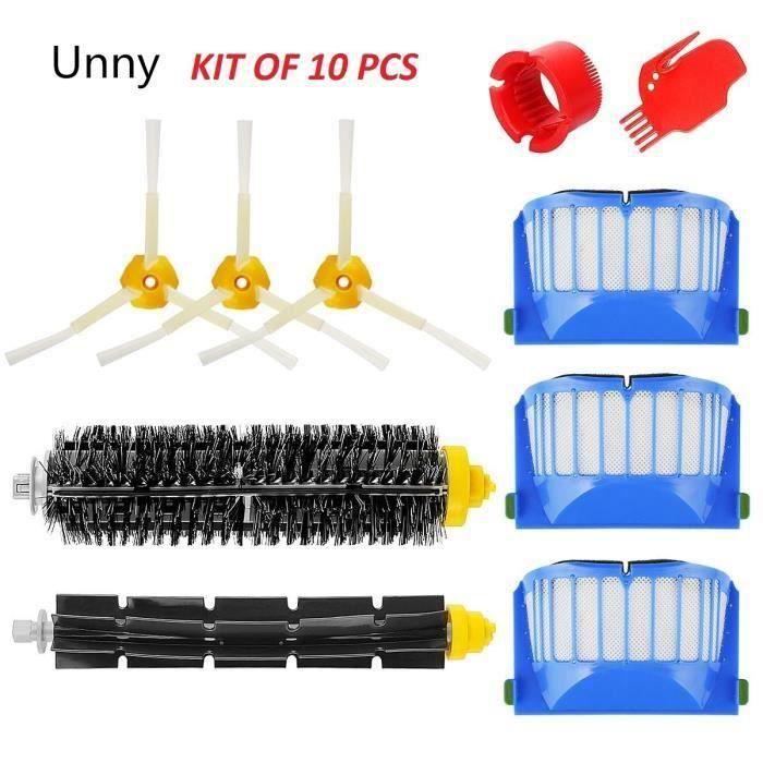 Unny Kit brosse pour iRobot Roomba série 600 – Kit de 10 pièces accessoires pour aspirateur robot