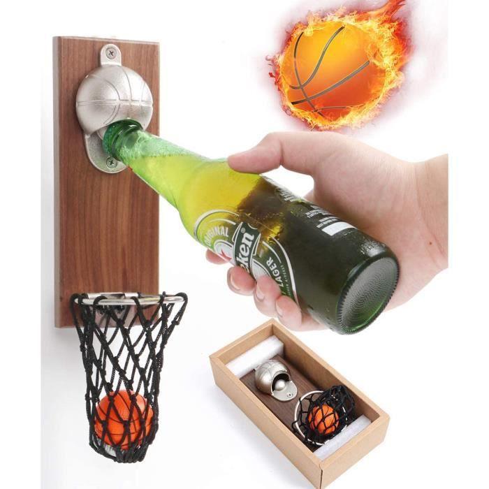 Ouvre-Bouteille de Basket-Ball avec Collection de Capsules de Bouteilles,Tire-Bouchon Magnétique Mural, pour Les Amateurs de Basket-