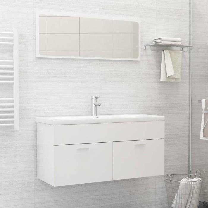 Moderne 25287 - Ensemble Meubles de salle de bain - Ensemble Mobilier de salle de bain Blanc brillant Aggloméré