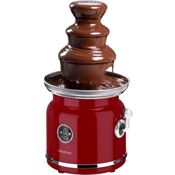 Cecotec Fontaine à chocolat Fun Chocolicious. Puissance 90 W, design rétro, tour en acier inoxydable, 3 niveaux de cascade