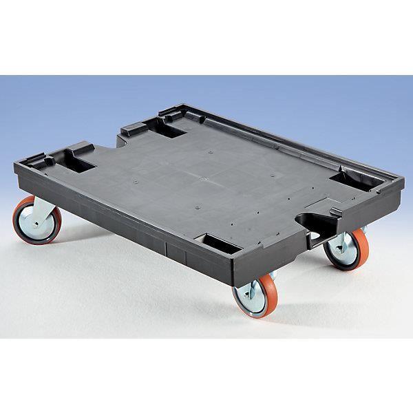 Chariot porte-bacs - avec 2 roulettes pivotantes et 2 fixes L x l 800 x 600 mm, force 450 kg - Accessoires Bac gerbable Bac pliant