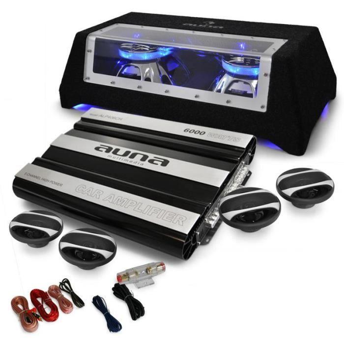 Electronic-star Set sono pour voiture : Système 4.1 avec ampli , caisson de basses avec 2 subwoofers de 12- & kit éclaté d'enceintes