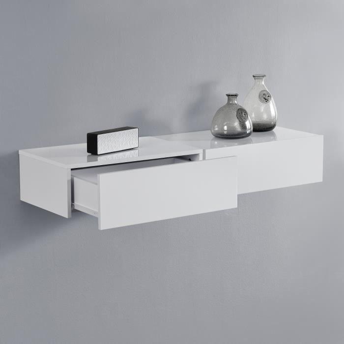 [en.casa]® 2 étagères murales pour chambre à coucher avec 2 tiroirs - blanc laqué - 46x30x15cm