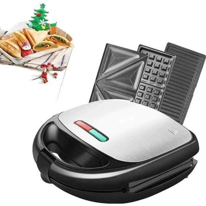 Machine à Sandwich 3 en 1 Machine à Gaufres 850W avec 4 Plaques Antiadhésives et Détachables Thermostat Automatique Gauffre pour Sa