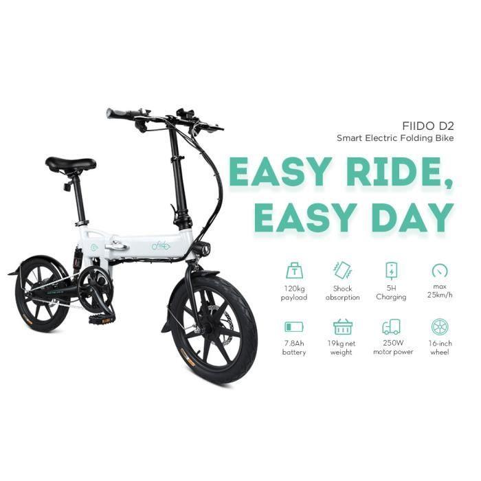 Vélo électrique Ebike pliant-FIIDO D2-Velo Assistance Electrique Cyclomoteur E-Scooter Adulte-250W-25 km/h-7.8Ah LCD pliable 16- ro