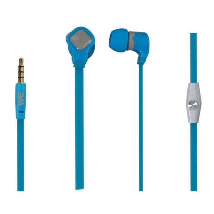 WE Ecouteurs avec micro - 1.20 m - jack 3.5 mm - 98dB - Bleu et gris
