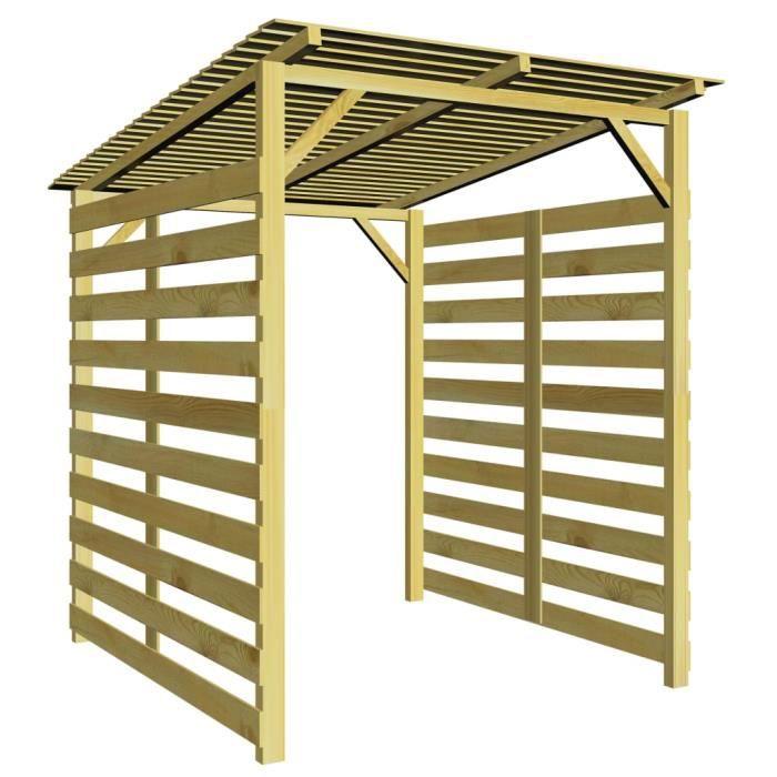 9033lOVE® Abri-bûches-Range Bûches-Abri de stockage du bois de chauffage-Porte-bûches Bois de pin imprégné Size:170 x 170 x 180 cm