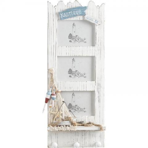 Porte-photos en bois décor marin
