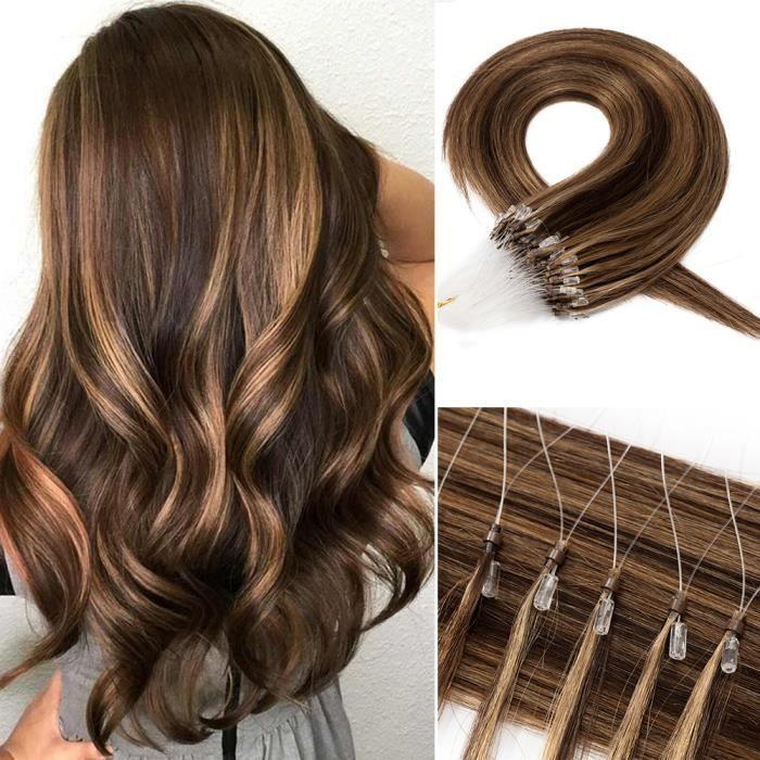 22 Pouces Extension Micro Loop Extension Anneaux Cheveux Naturel 50G [100 Mèches X 0.5G-Mèche] Extension A Froid - #4P27 Châtain &