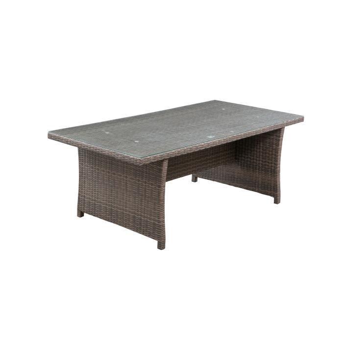 Table de jardin 8 personnes - 200 x 100 x H.75 cm - Acier & Résine tressée et Plateau en verre