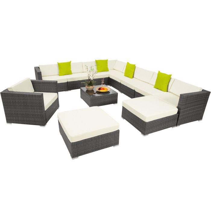 Canapé de jardin LAS VEGAS modulable 10 places - gris