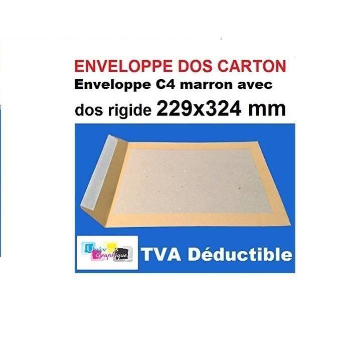 Lot de 5 enveloppe DOS CARTON RIGIDE A4, pochette MARRON blond C4 229 X 324 poche, sac rigide pour envoi sans plier. l'enveloppe
