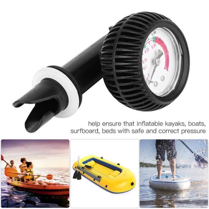 VINGVO manomètre de pompe à air Jauge de pression d'air pour baromètre de sécurité de pompe de planche de surf de bateau de