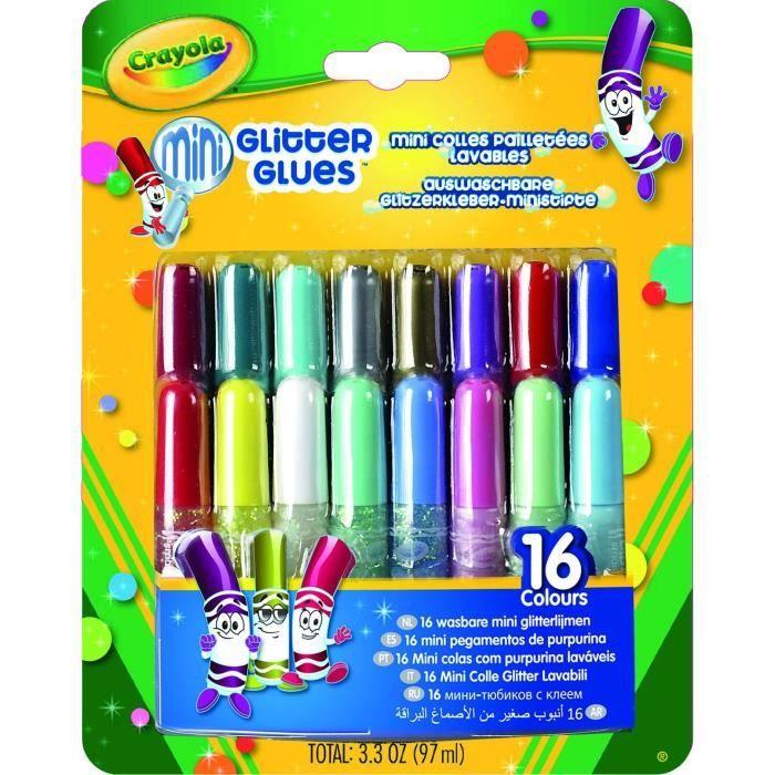 Crayola - 16 mini colles pailletées lavables -
