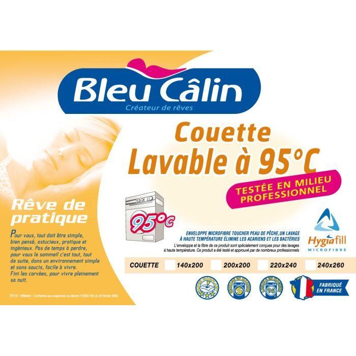 BLEU CALIN Couette chaude Lavable à 95°C 200x200cm