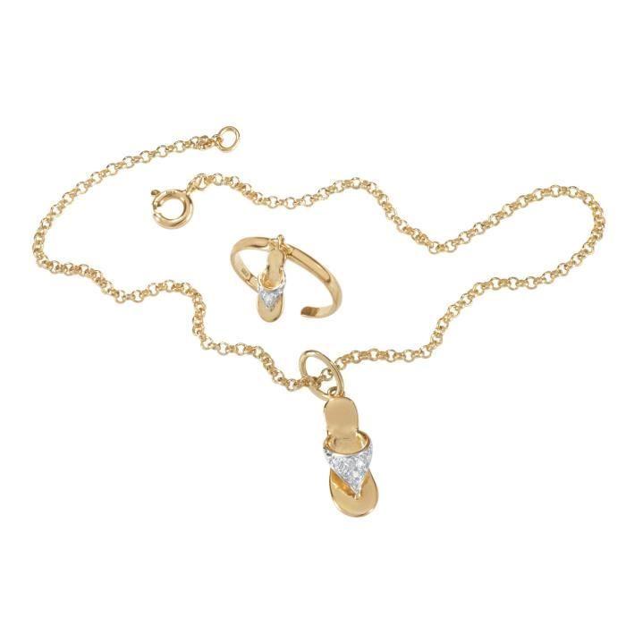 CHAINE DE CHEVILLE Women's White Diamond Accent 18k Gold Over .925 St