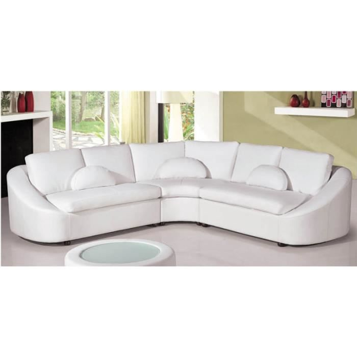canap d 39 angle blanc 5 places geneve achat vente canap sofa divan cdiscount. Black Bedroom Furniture Sets. Home Design Ideas