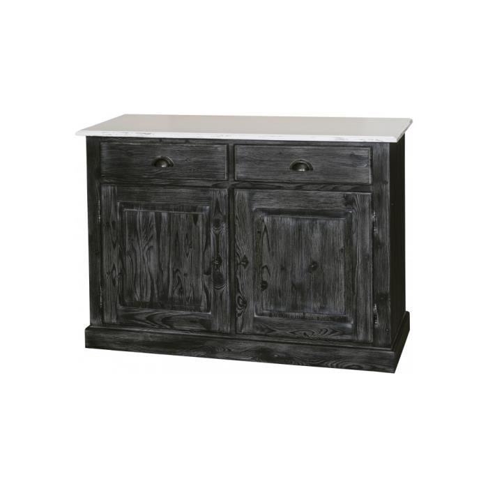 Buffet 2 portes 2 tiroirs pin massif patin noir meuble style d co structure pin massif for Meuble patine noir