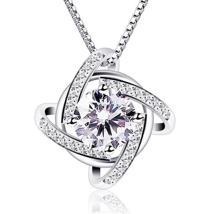 Cadeau parfait pour les f/êtes Pendentif diamant/é B.Catcher Femme Collier en Argent 925 les anniversaires Cadeau pour les femmes et les filles La f/ête des m/ères