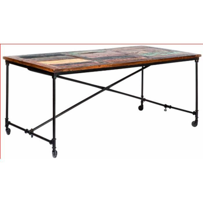 Table en m tal rouille et bois mango coloris ma achat vente table a ma - Table and co vente en ligne ...