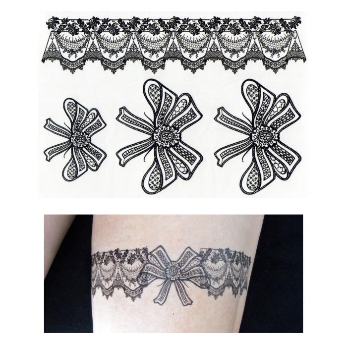 Tatouages Ephemeres Tattoo Temporaire Faux Tatouage Jarretiere De Nœud Achat Vente Tatoo Bijou De Corps Tatouages Ephemeres Tatto13547 Cdiscount
