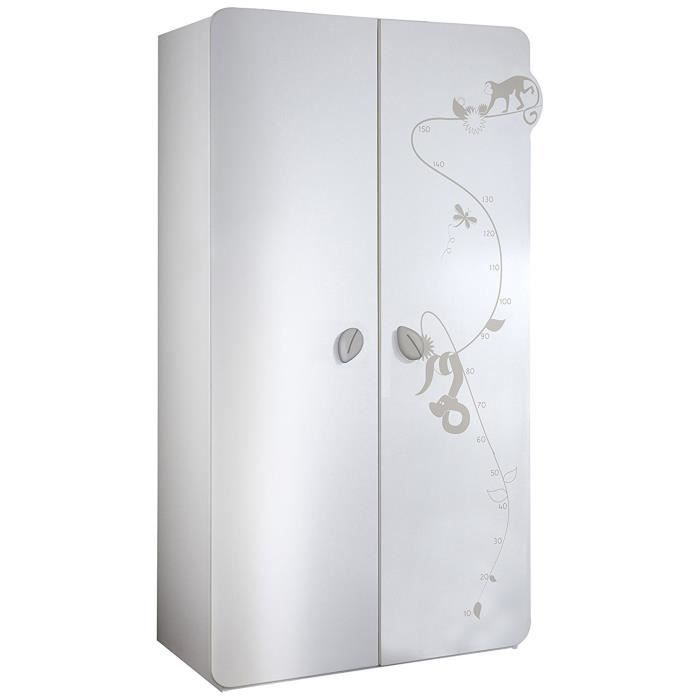 jungle armoire 2 portes blanc et taupe achat vente. Black Bedroom Furniture Sets. Home Design Ideas