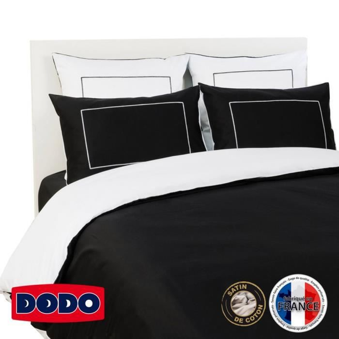 dodo housse de couette 200x200 cm noir et blanc achat. Black Bedroom Furniture Sets. Home Design Ideas